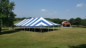 40x80 BlueWhite Pole Tent at Sunset Hill